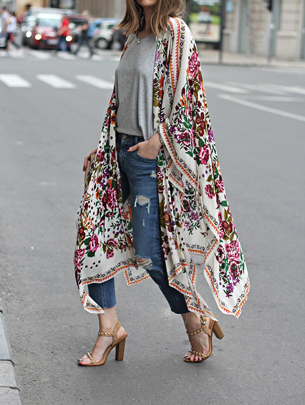 Hibluco Women's Sheer Chiffon Floral Kimono Cardigan Long Blouse ...