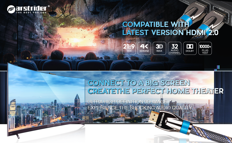 4K HDMI Cable 2.0 support 3D, 18Gbps, HDR