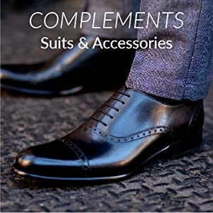 """096e60e23f0 Shiny black leather Oxfords with laces. """"Complements Suits and Accessories""""  written above."""