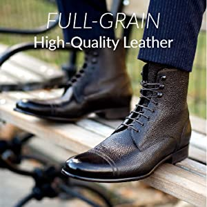 """aced leather boots with brown and black gradient. """"Full-Grain High-Quality Leather"""" written above."""