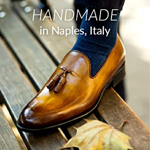 """Tan and brown ombre leather loafer with 2 tassels. """"Handmade in Naples, Italy"""" written at top."""