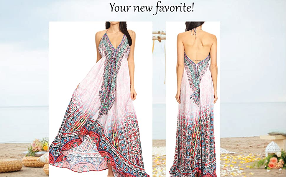 maxi V-neck spaghetti straps silky long wedding casual event formal floral print sleeveless ties