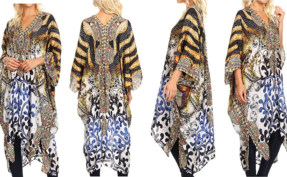 8304d1ee6f995 caftan top cover-up V-neck floral print printed loose short sleeve summer  casual