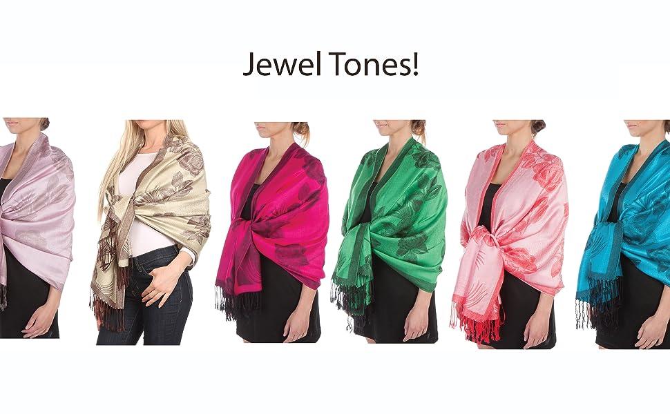 sakkas scarf wrap shawl color solid floral roses fringe