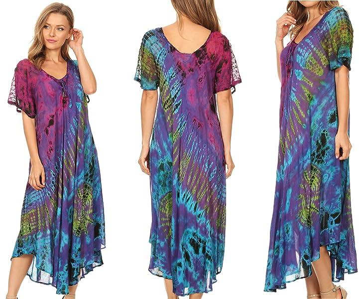 1f05d641986 Sakkas 17682 - Ria Tie Dye Embroidered Cap Sleeve Wide Neck Caftan ...
