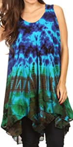 summer casual tunic blouse tank top sleeveless tie dye cover-up beach bikini lounge travel light