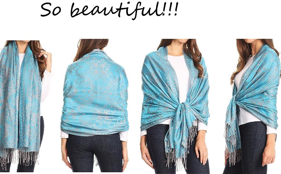 floral large fringe solid color casual formal scarf pashmina wrap shawl warm soft light reversible