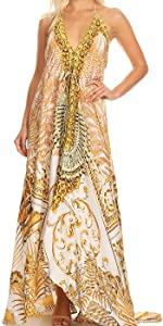 6250d9d31b778 Sakkas Georgettina Flowy Rhinestone V Neck Long Caftan Dress/Cover up ·  Imani V-Neck Silky Lightweight Colorful Flowy Rhinestone Kaftan/Cover up ...