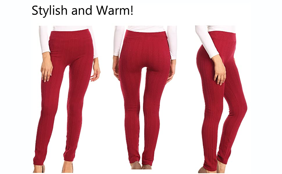 Sakkas 200tx Warm Cable Knit Fleece Lined High Waist Leggings
