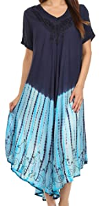 caftan sundress sleeveless maxi loose flared summer casual tie dye print light cover-up nightgown