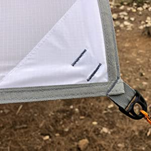 white tarp shelter