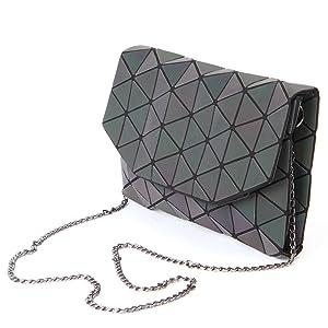 66e59bbc2b62 KAISIBO Fashion Geometric Lattice Tote Glossy Purses and Handbags PU ...