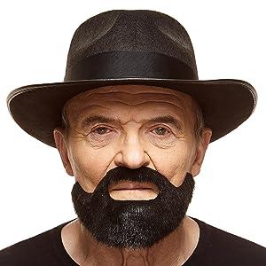 False Fake Goatee Beard Black Mustache Fancy Dress Stick On Facial Hair