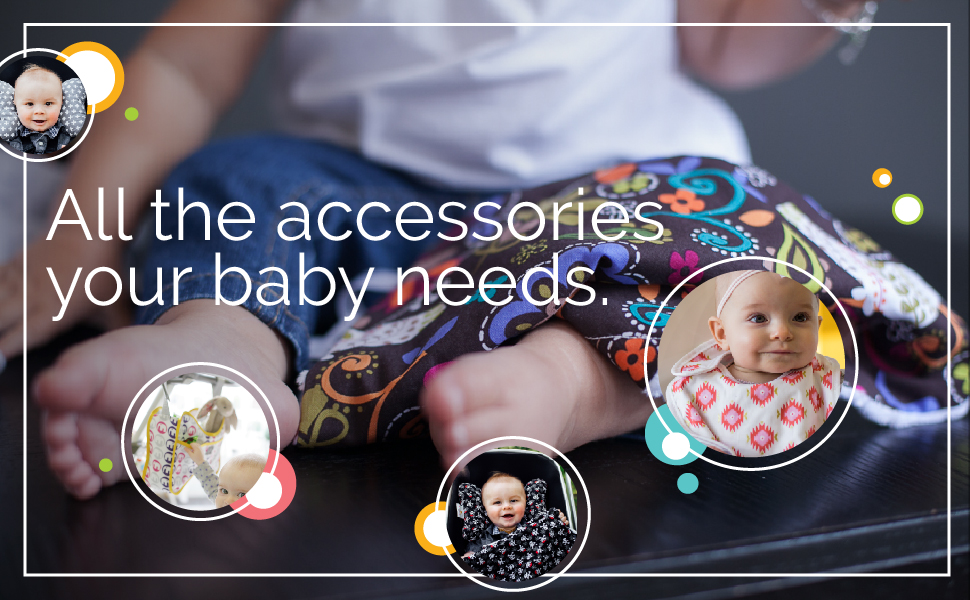 """Babies using a pillow, bib, blanket, & stroller bag with text """"All the accessories your baby needs."""""""
