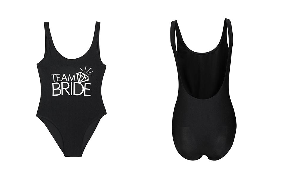 226bc83c0b9ff Bestag Team Bride Letter Print Diamond Pattern One Piece Swimsuit ...