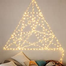 USB christmas led string lights star hanging on your bedroom wall give a cozy lighting glow at night