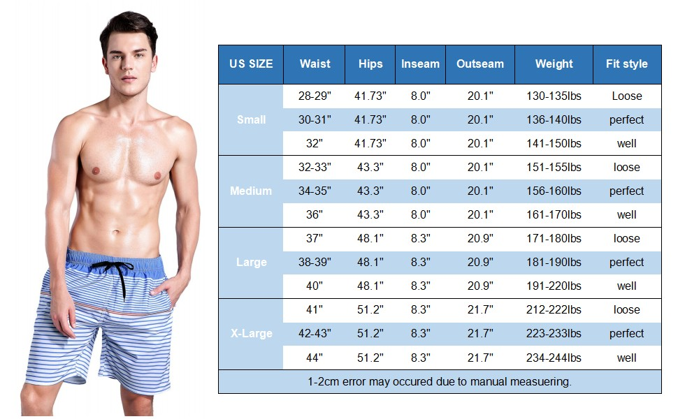 61e68bea88 QRANSS Men's Quick Dry Swim Trunks Bathing Suit Striped Shorts with ...
