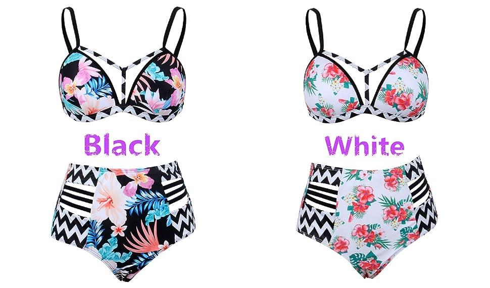 Womens Summer Beachwear Floral Print High Waisted Split Swimsuit Bikini