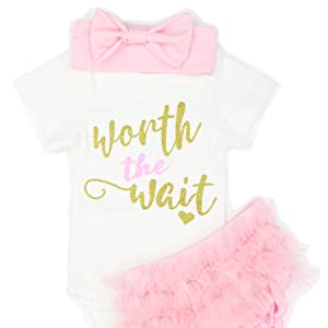 d36a49c45927 Amazon.com  3PCS Newborn Baby Girl Worth The Wait Romper Jumpsuit ...