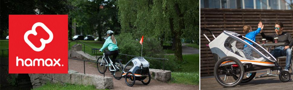 hamax hamaxusa outback multi-sport stroller bike trailer jogger bicycle jogging strollers - Hamax Outback Reclining Multi-Sport Child Bike Trailer + Stroller - 2020 Model (Jogger Wheel Sold Separately) (Navy/White, One Seat)