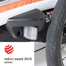 hamax hamaxusa outback bike trailer red dot award safety baby infant jogging biking stroller - Hamax Outback Reclining Multi-Sport Child Bike Trailer + Stroller - 2020 Model (Jogger Wheel Sold Separately) (Navy/White, One Seat)