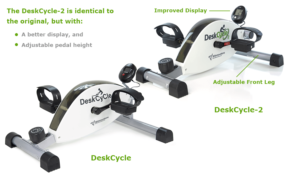 Difference between the DeskCycle and the DeskCycle 2 under desk exercise bikes.