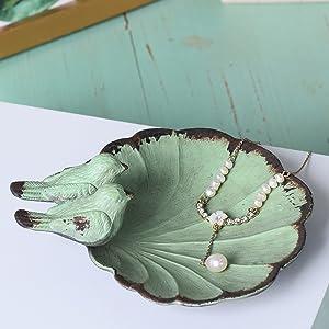 Ring Dish Navy Blue Bird Trinket Dish Gift Box Birds Ring Holder Jewelry Dish