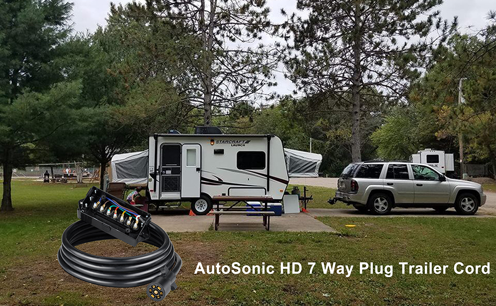 AutoSonic 7 Way Trailer Plug Cord RV-Style Trailer Connector with 7 on