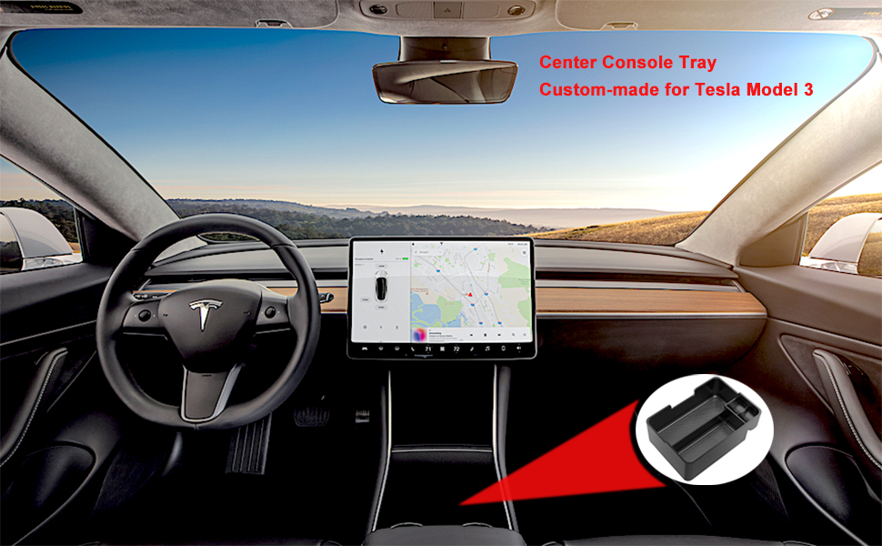 AutoSonic Center Console Tray Organizer for Tesla Model 3 Premium Molded Tray Accessories Compatible with Tesla Model 3 Coin and Sunglass Holder