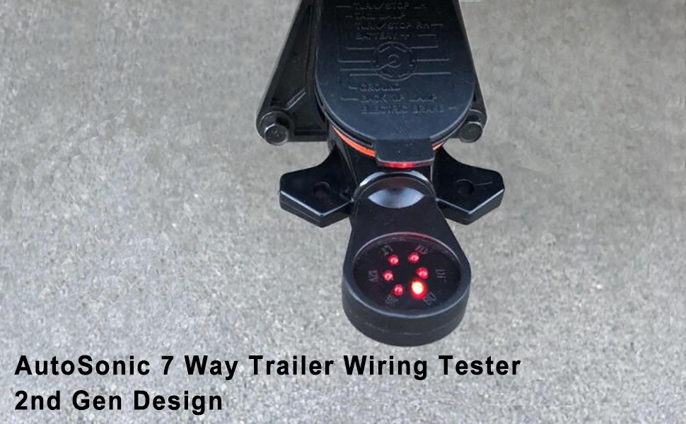AutoSonic 7 Way Trailer Wiring Tester RV Towing Wiring Tester 6 Function RV Connector Circuit Tester Trailer Hitch Wiring Tester 7 Pin Blade Plug with Red LED Weatherproof