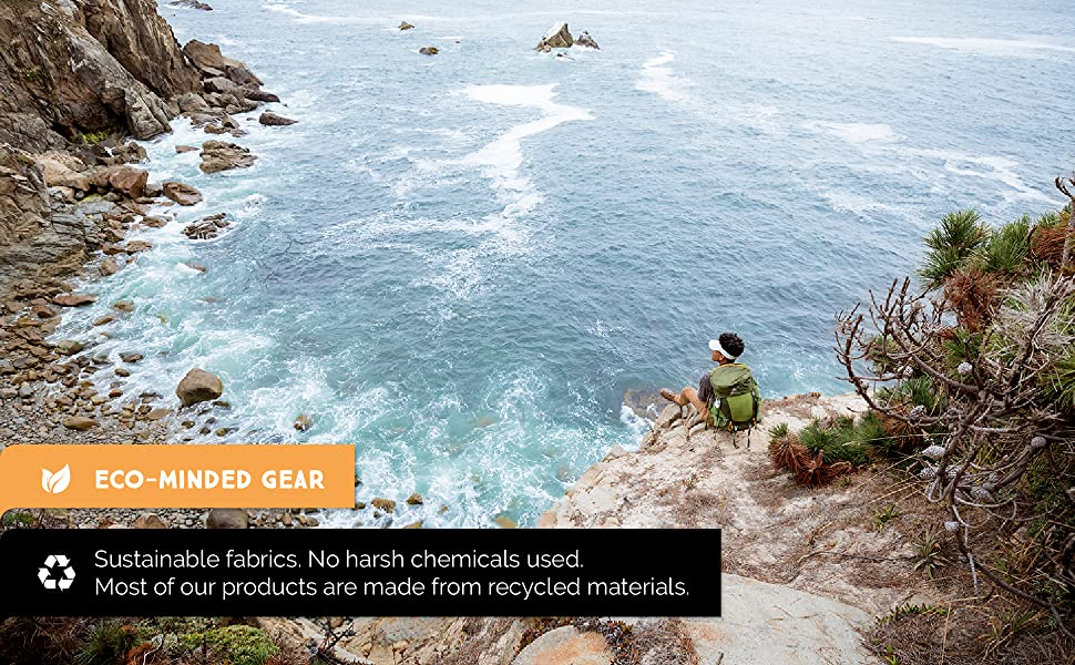 """Eco-minded gear, sustainable fabrics. No harsh chemicals. Products made of recycled materials."""