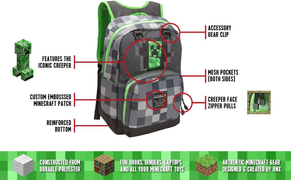 78894d5a3f Amazon.com  JINX Minecraft Creepy Creeper Kids Backpack (Grey