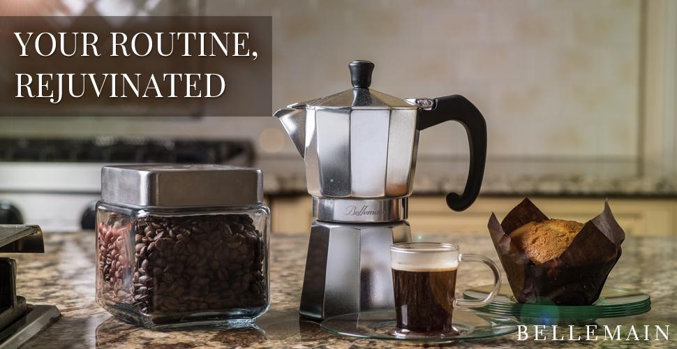 Bellemain 6 Cup Stovetop Espresso Coffee Maker Moka Pot Hot
