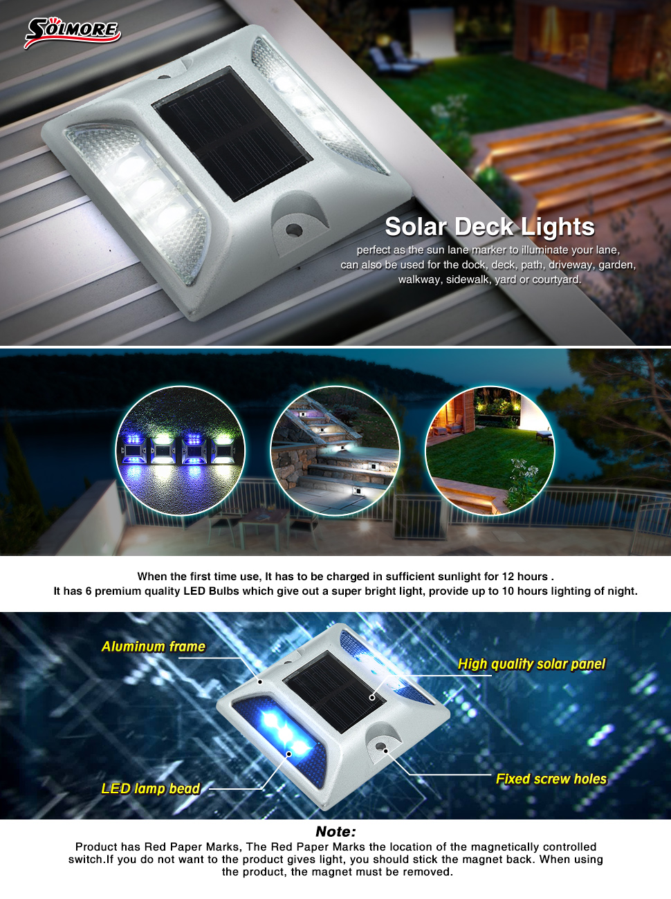 2 pack led solar deck lights to work when night falls or with the onset of inclement weather energy saving no uv rays environment friendly this aluminum alloy led road stud is aloadofball Choice Image