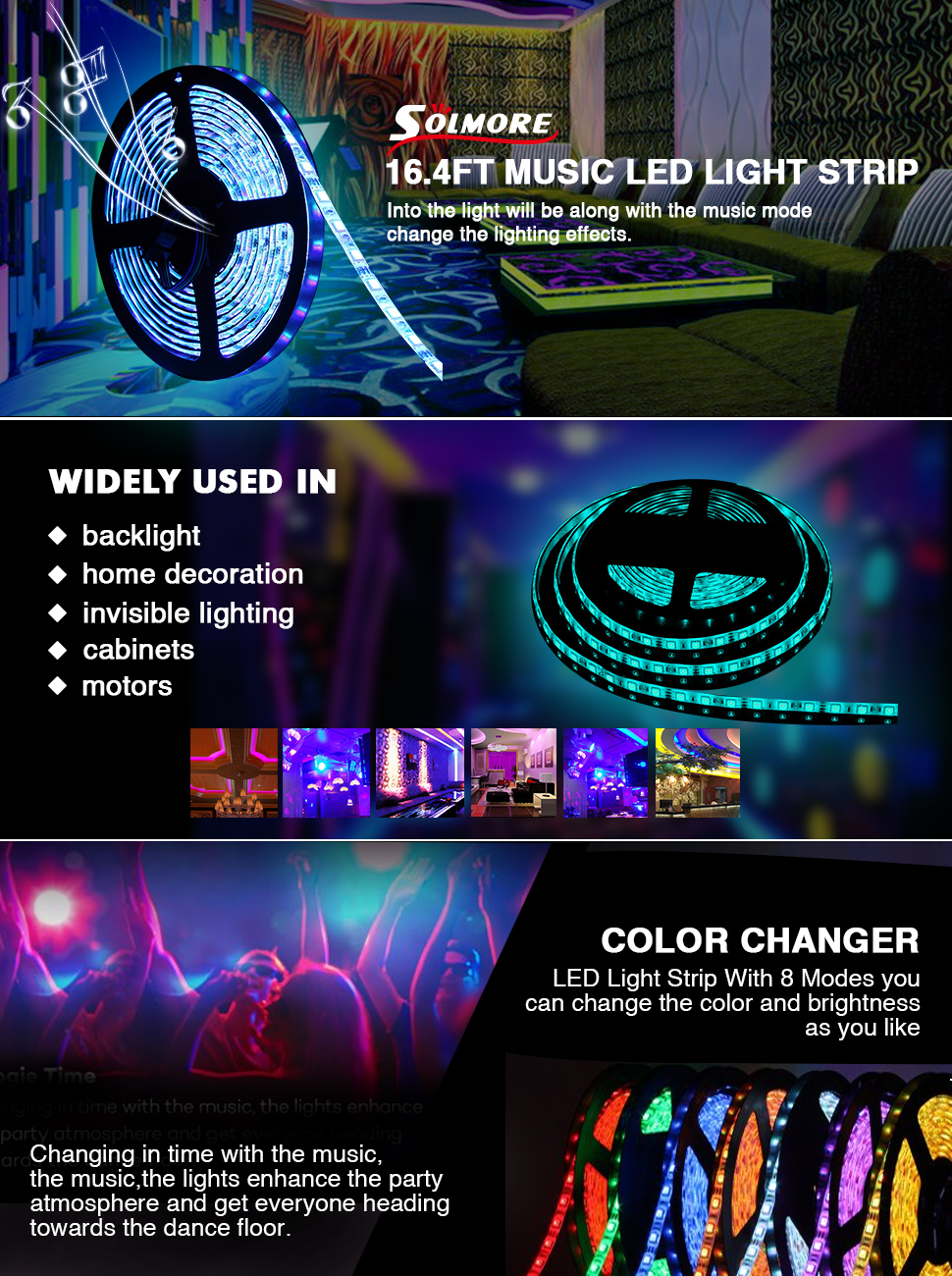 Strips IP Rating IP65 Remote Control Mode IR LED Strip Light Power Supply 12V Quantity 300 The Maximum Load 60W Gross Weight 650g