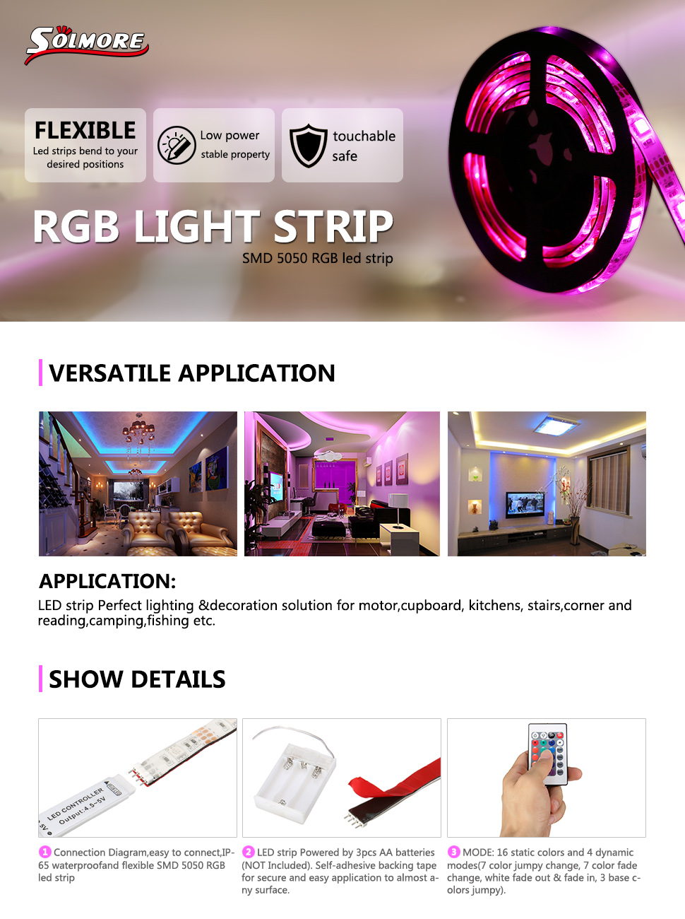 Solmore Led Strip Lights Rgb 66ft 60 Battery Strips Wiring Diagram Waterproof Flexible Tv Backlight Background Lighting Kit With Wireless Ir Remote Controldecoration For Diy Party Living