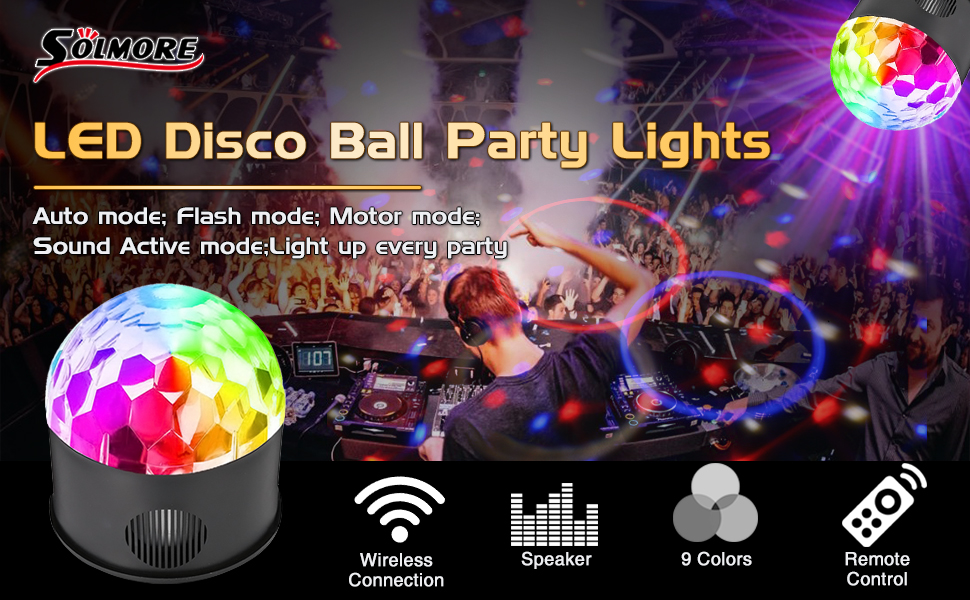 Solmore Led Disco Ball Party Lights Strobe Light 9 Color 9w Sound Activated Dj Lights Stage Lights Wireless Phone Connection With Remote For Club Gift