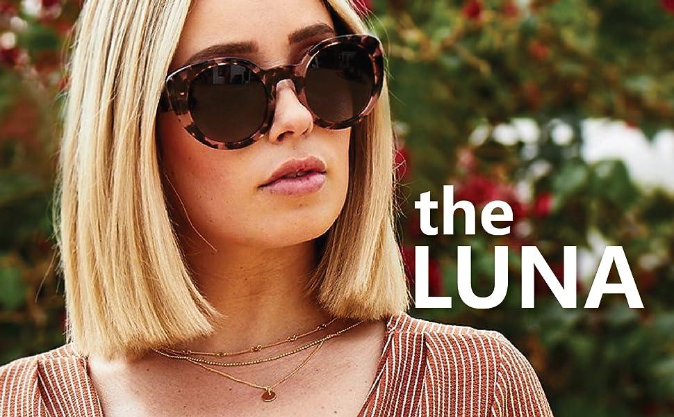 e5e8fcc98b3 Amazon.com  DIFF Eyewear  Luna - Designer Round Sunglasses - 100 ...