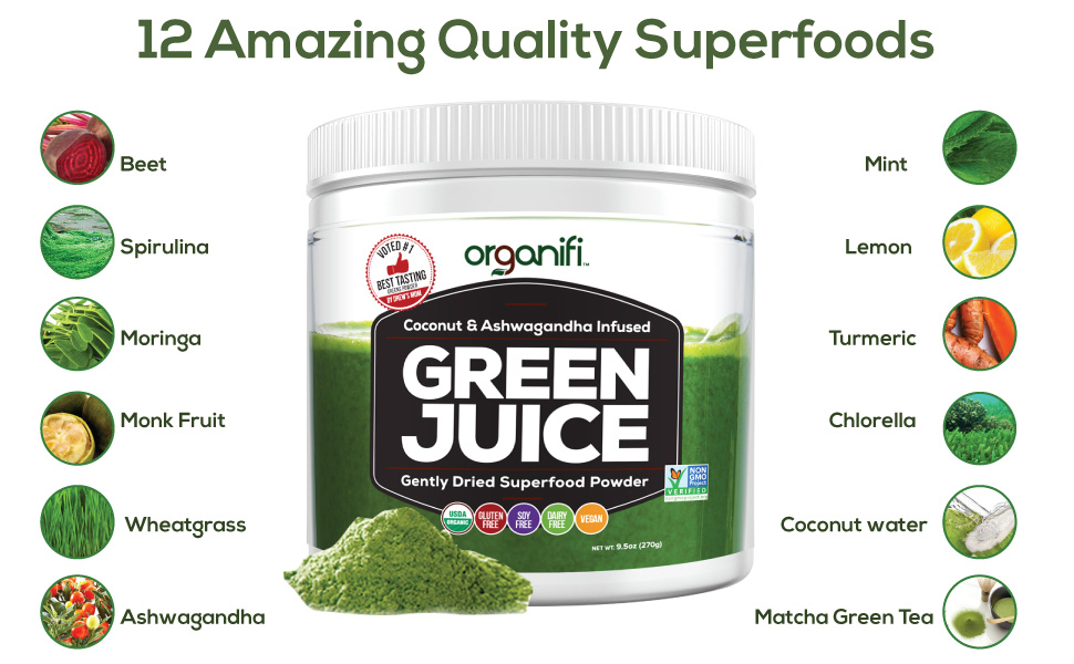 Details about Organifi Green Juice - 12 Organic Superfood Supplement Powder  -2021 Exp