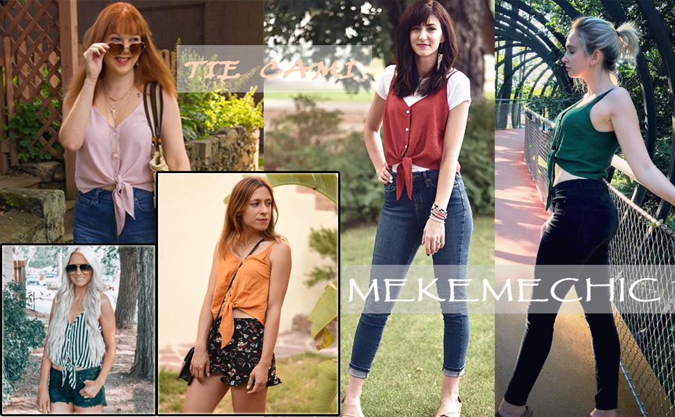 dc8d4f7d7e648 Summer Casual V Neck Button Seft Tie Front Crop Cami Tops Camisole for Women