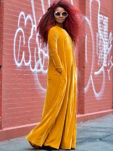 be7e90dbaf13 MakeMeChic Women'S Elegant Long Sleeve Velvet Loose Maxi Dress ...