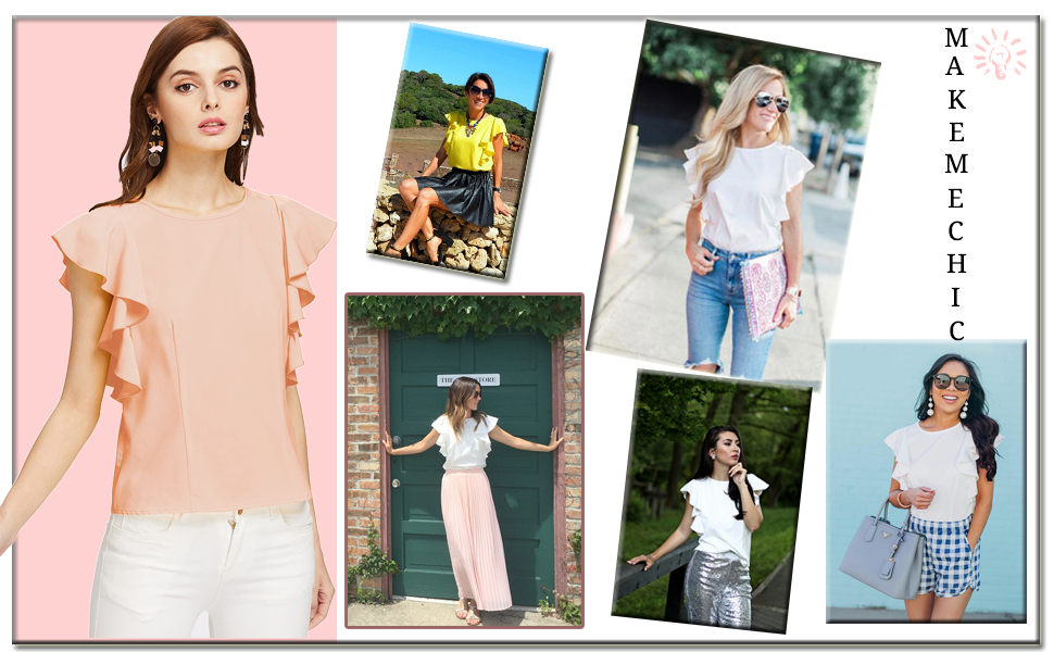 MAKEMECHIC Women s Solid Ruffle Sleeve Summer Tops and Blouses at ... 78cec670f