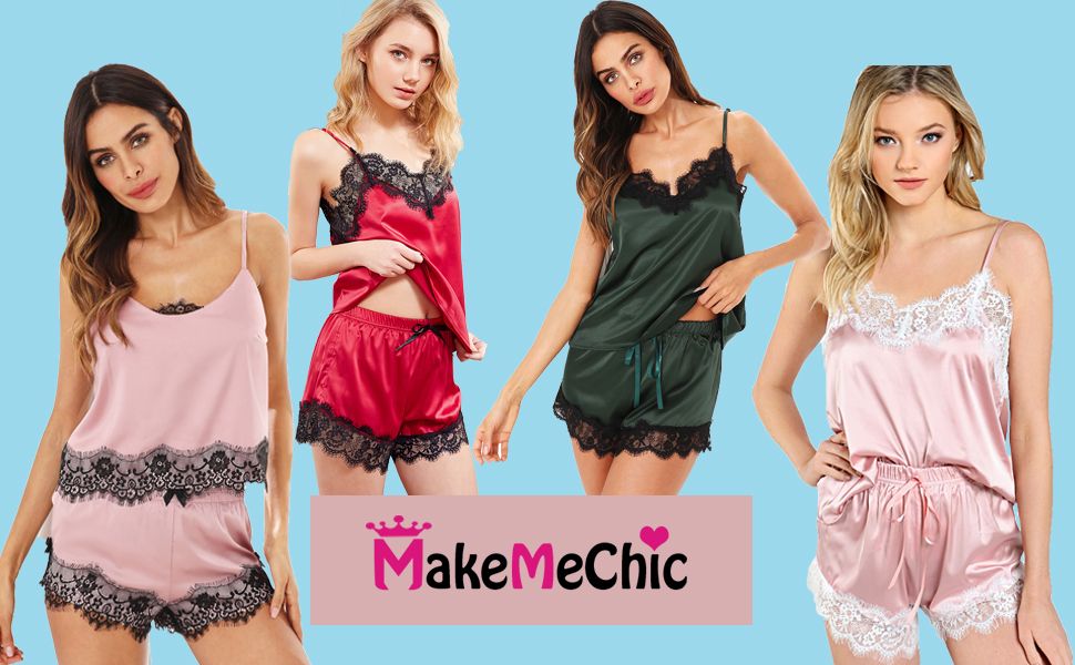 MAKEMECHIC Women s Lace Satin Sleepwear Cami Top and Shorts Pajama ... 5a984464d