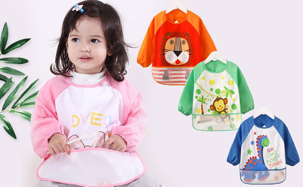 Wipeable Eating and Play Smock Bibs Water Resistant Apron Children Gifts