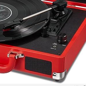 Amazon.com: Mesa giratoria estéreo de vinilo Rojo: Electronics