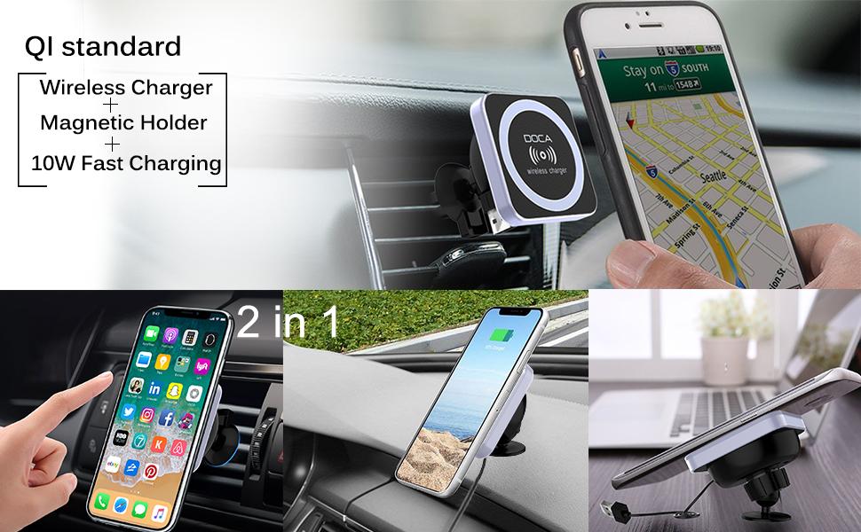 Amazon.com: Qi inalámbrico cargador de coche soporte, doca ...