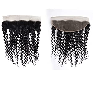 Brazilian Virgin Human Hair Deep Wave Lace Frontal
