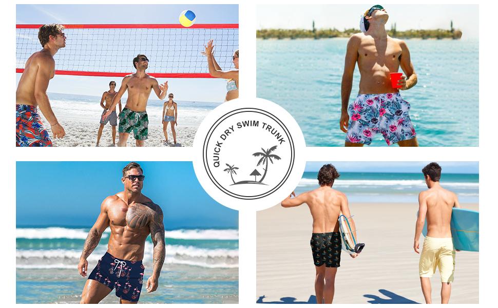 508c13a250448 Amazon.com: UNICOMIDEA Mens Swim Trunks Slim Fit Board Shorts Quick ...