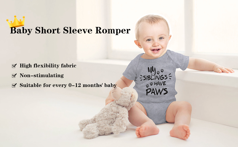 My Siblings Have Paws Baby Romper 0-18 Months Newborn Baby Girls Boys Layette Rompers Black
