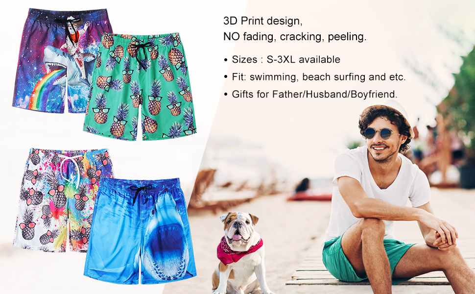 Funny Cats Casual Summer Beach Board Shorts Pants for Men Teens